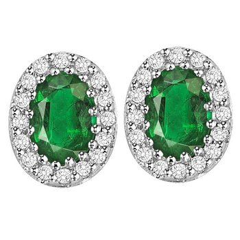 Emerald and Diamond Earrings in 14K White Gold    gjHDER021EWB