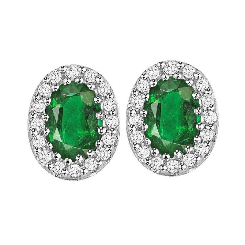 Grandis Signature Emerald and Diamond Earrings in 14K White Gold    gjHDER021EWB