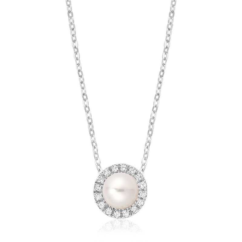 Showcase Collection 10KW FW Pearl Slide with Diamond Halo