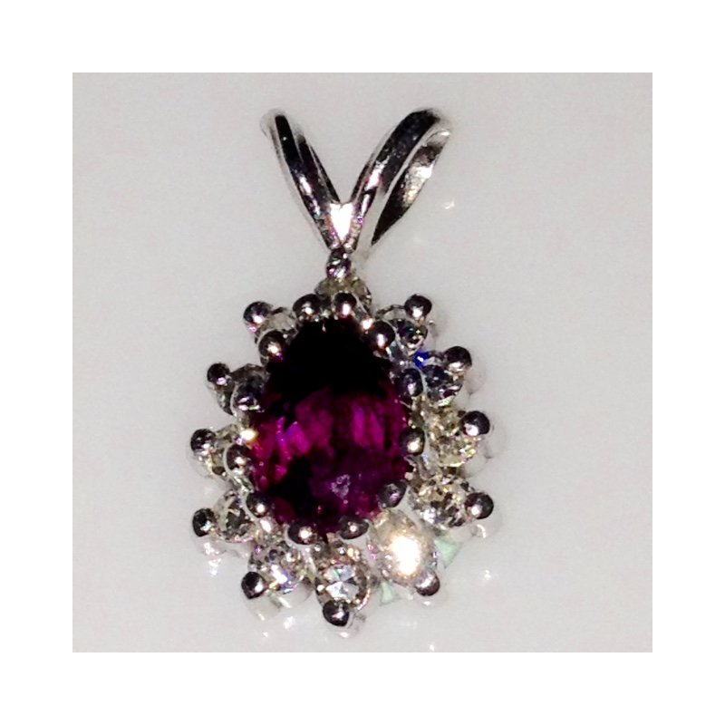 Showcase Collection Pink Tourmaline Pendant with Diamond Accents