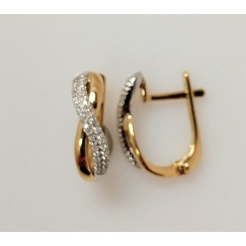 10K Two Tone Euroback Earrings