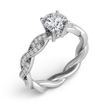 14KW Semi Set Engagement Ring with Twisted Band