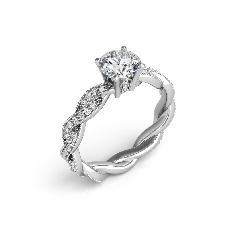 Showcase Collection 14KW Semi Set Engagement Ring with Twisted Band