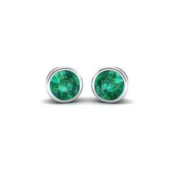 Bezel Set Emerald Earrings