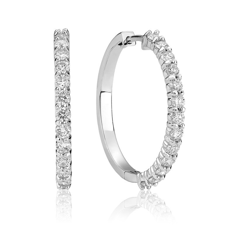 Showcase Collection 14KW Diamond Hoops