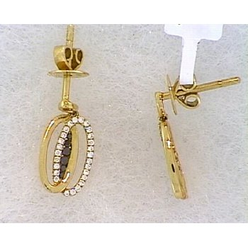 18KR Diamond Double Oval Drop Earrings