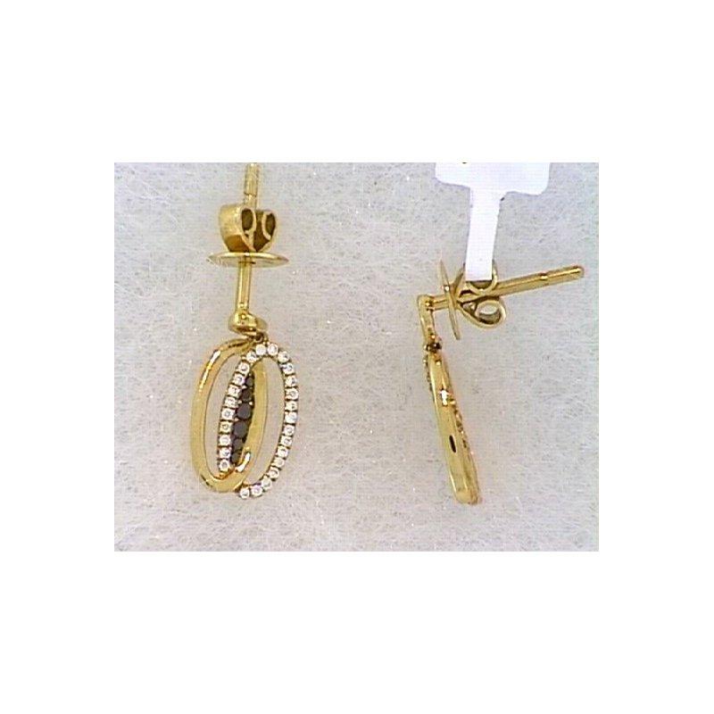 Showcase Collection 18KR Diamond Double Oval Drop Earrings
