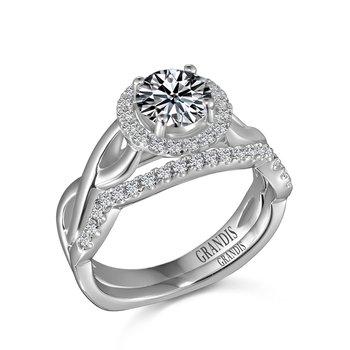 Grandis Engagement Ring Mount and Wedding Band Bridal Set 0.42 ctw ER9237SET