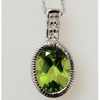Peridot Pendant with Diamond Accents