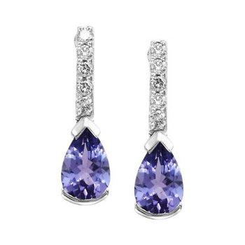 Pear Shape Tanzanite & Diamond Earrings