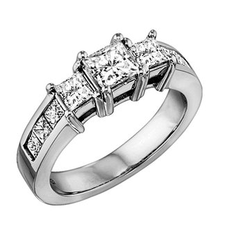 Three Stone Princess Cut Diamond Ring in 14K White Gold 1.50 ctw