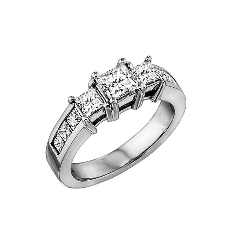 Grandis Signature Three Stone Princess Cut Diamond Ring in 14K White Gold 1.50 ctw