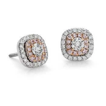 14K White & Rose Diamond Halo Stud Earrings