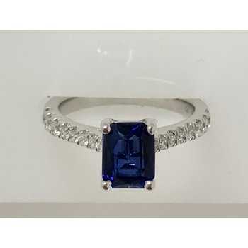 Synthetic Sapphire Ring with Diamond Accents