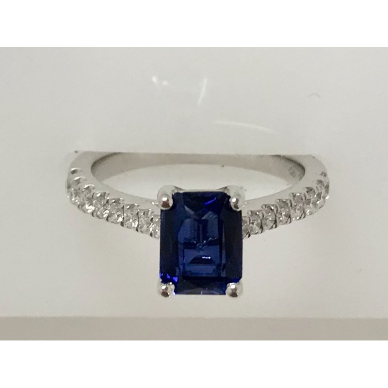 Showcase Collection Synthetic Sapphire Ring with Diamond Accents