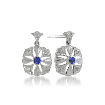 Hand Engraved Sapphire and Diamond Earrings