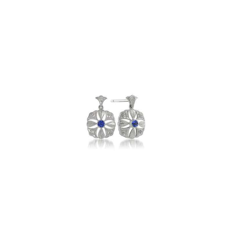 Showcase Collection Hand Engraved Sapphire and Diamond Earrings