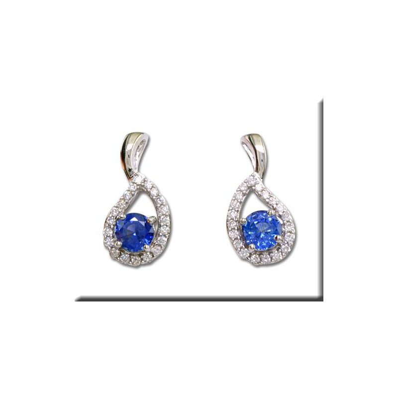 Grandis Signature Blue Sapphire and Diamond Stud Earrings GJECC083S13WI