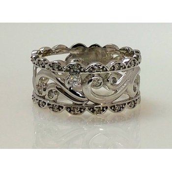 10KW Filigree Ring with Diamond Accents