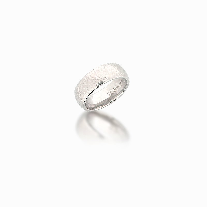Grandis Signature 8mm Domed Cobalt Chrome Hammered Band