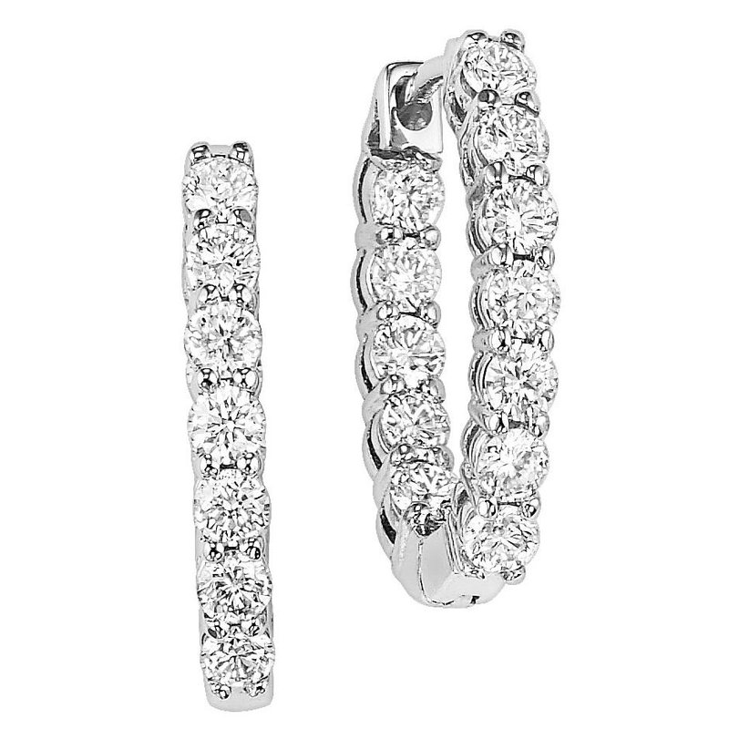 Grandis Signature Diamond and White Gold Inside Out Hoop Earrings 3.0 ctw