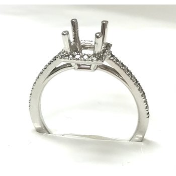 14KW Semi Set Princess Halo Ring
