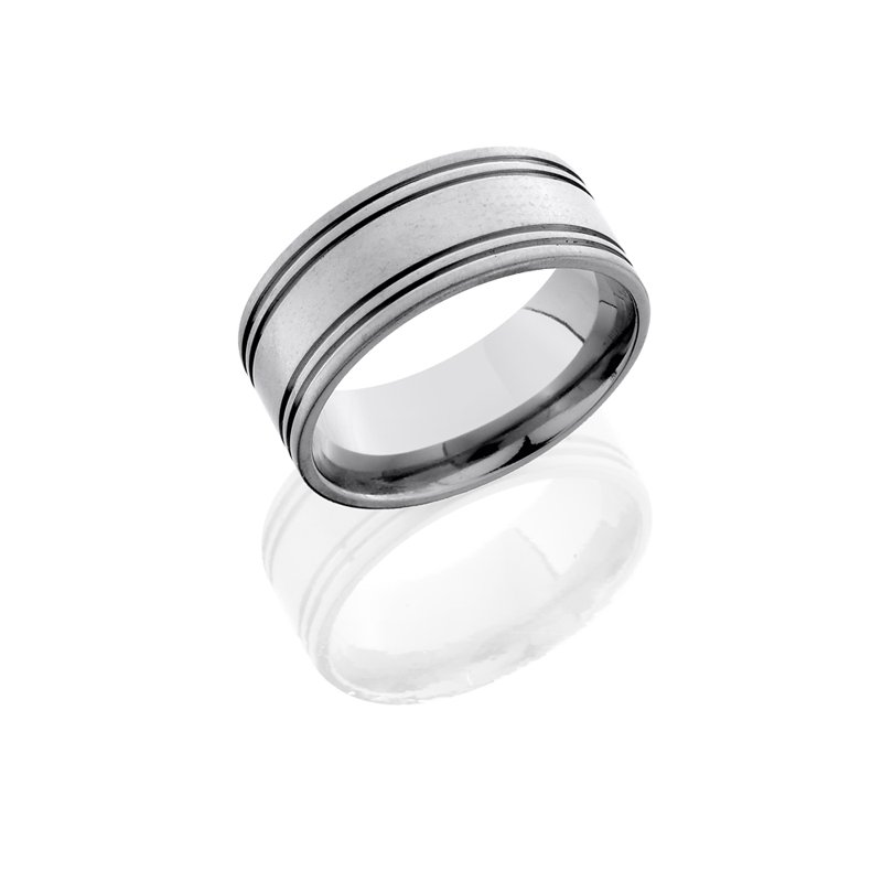 Grandis Signature Men's 10mm Titanium Band with 0.5mm Side Grooves