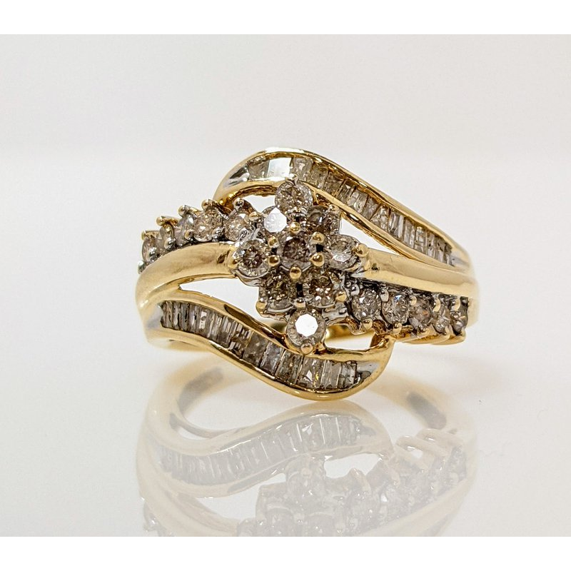 Estate Specials Diamond Cluster and Baguette Ring