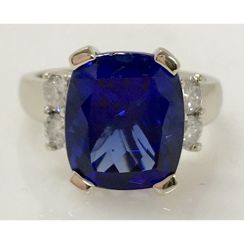 Showcase Collection Tanzanite Ring with Diamond Accents