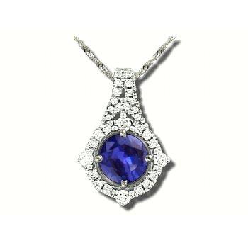 18K WG Fine Sapphire and diamond pendant, GJJ81-P1558