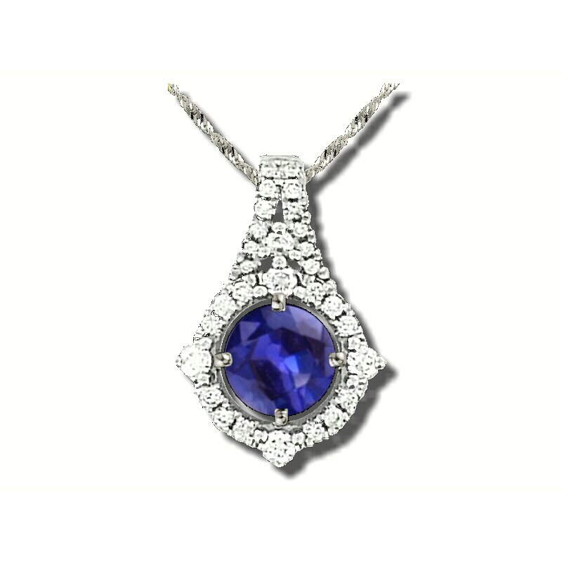 Grandis Signature 18K WG Fine Sapphire and diamond pendant, GJJ81-P1558