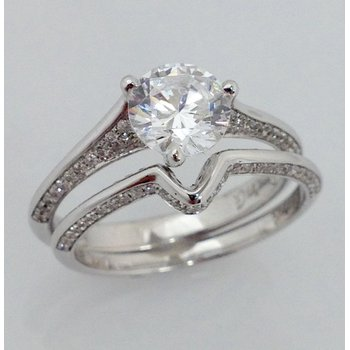 18KW Semi Set Diamond Ring with Matching Band