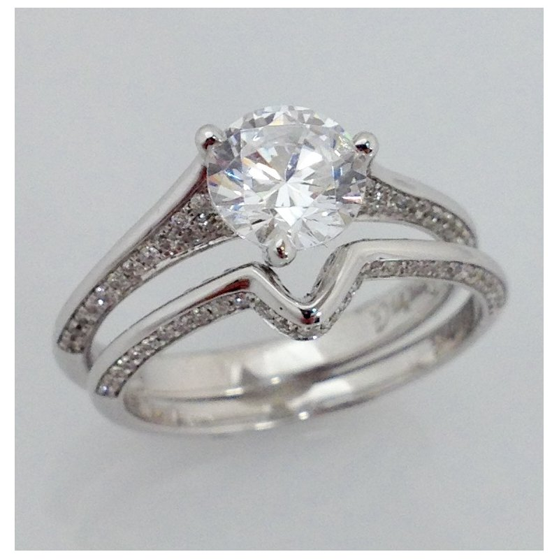 Showcase Collection 18KW Semi Set Diamond Ring with Matching Band