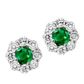 Emerald and Diamond Cluster Earrings   gjFE4066EWB