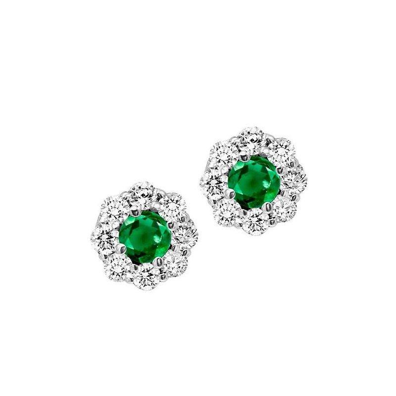 Grandis Signature Emerald and Diamond Cluster Earrings   gjFE4066EWB