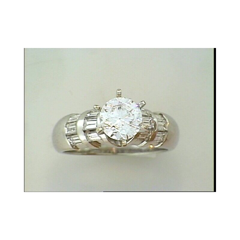Showcase Collection 14KW Semi Set Engagement Ring with Baguettes