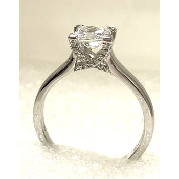 18KW Semi Set Princess Cut Engagement Ring