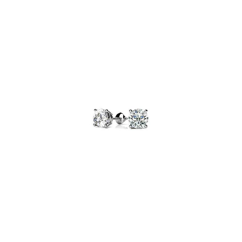 Fire and Ice 14KW Diamond Stud Earrings