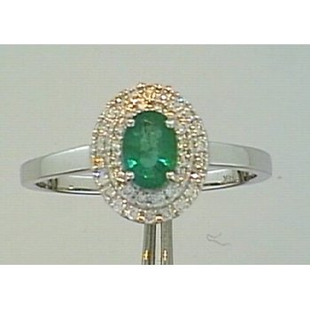 Emerald Ring with Double Halo