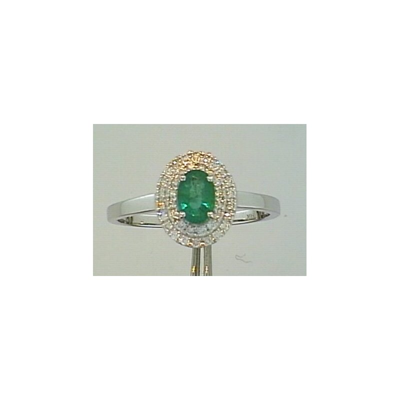 Showcase Collection Emerald Ring with Double Halo