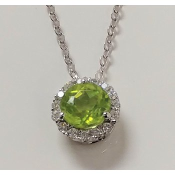 Peridot Pendant with Diamond Accents
