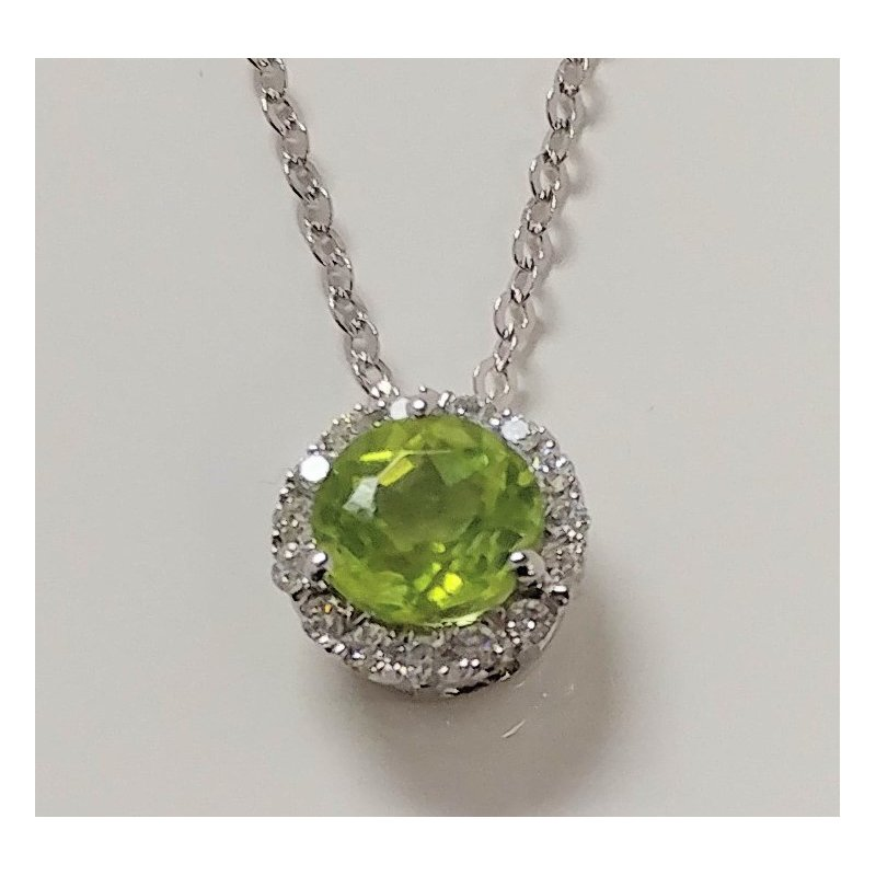 Showcase Collection Peridot Pendant with Diamond Accents