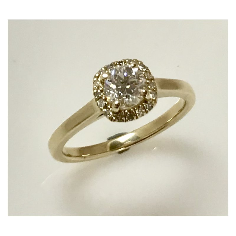 Estate Specials 14ky Euro-cut Halo Diamond Ring