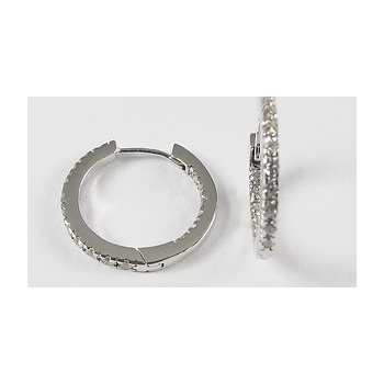 10KW Inside Outside CZ Hoop Earrings