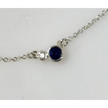 Sterling Silver Necklace with Lab Grown Sapphire