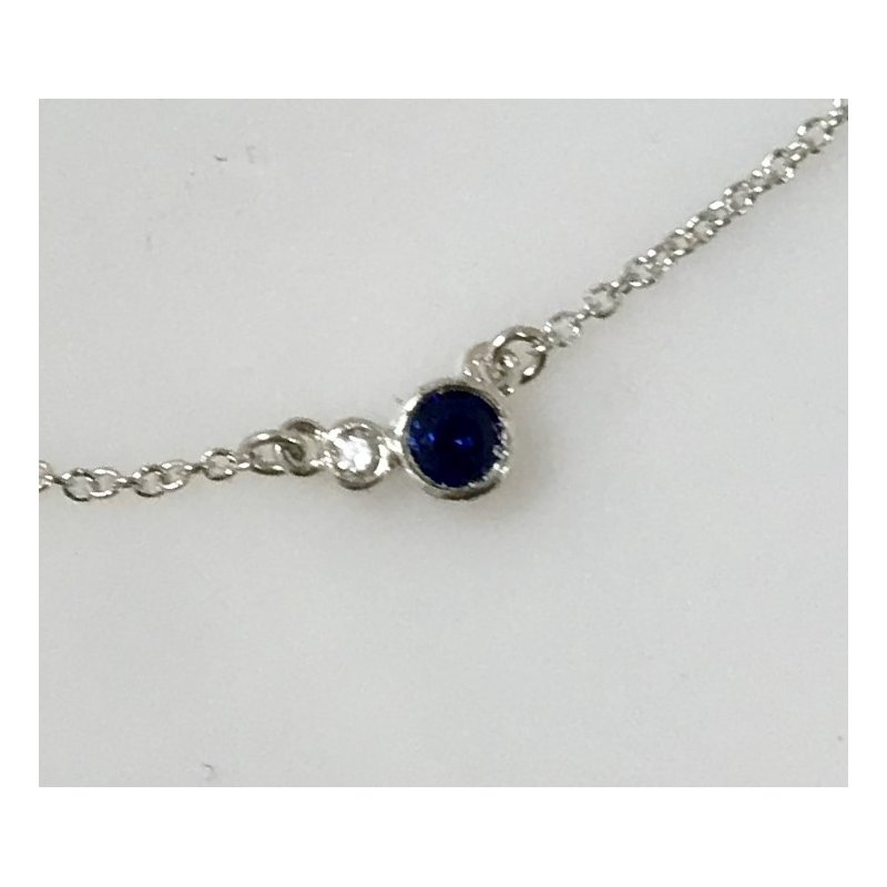 Showcase Collection Sterling Silver Necklace with Lab Grown Sapphire
