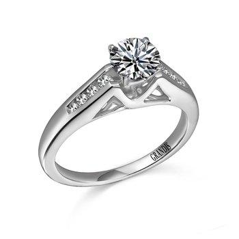 Grandis Diamond Solitaire Engagement Ring Mount 14K Prong Set 0.14 ctw    gjER2048-14W-0000