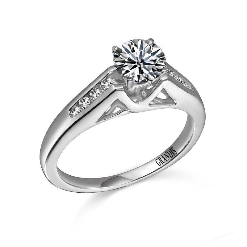 Grandis Signature Grandis Diamond Solitaire Engagement Ring Mount 14K Prong Set 0.14 ctw    gjER2048-14W-0000