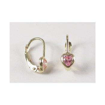 10KY Children's Pink CZ Earrings
