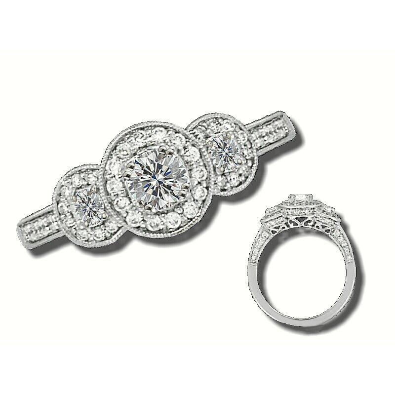 Grandis Signature 14K W 0.98ctw 3 Stone Diamond Ring, GJTJSM-565